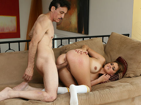Allie Haze taking good care of her stepdad's cock sucking it gently and riding it hard like a fuck-starved slut